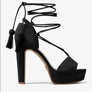 Michael Kors Rosalie Suede Lace Up Platforms - 9.5